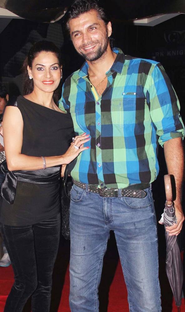 Chetan Hansraj with his wife Lavinia at The Dark Knight Rises Screening