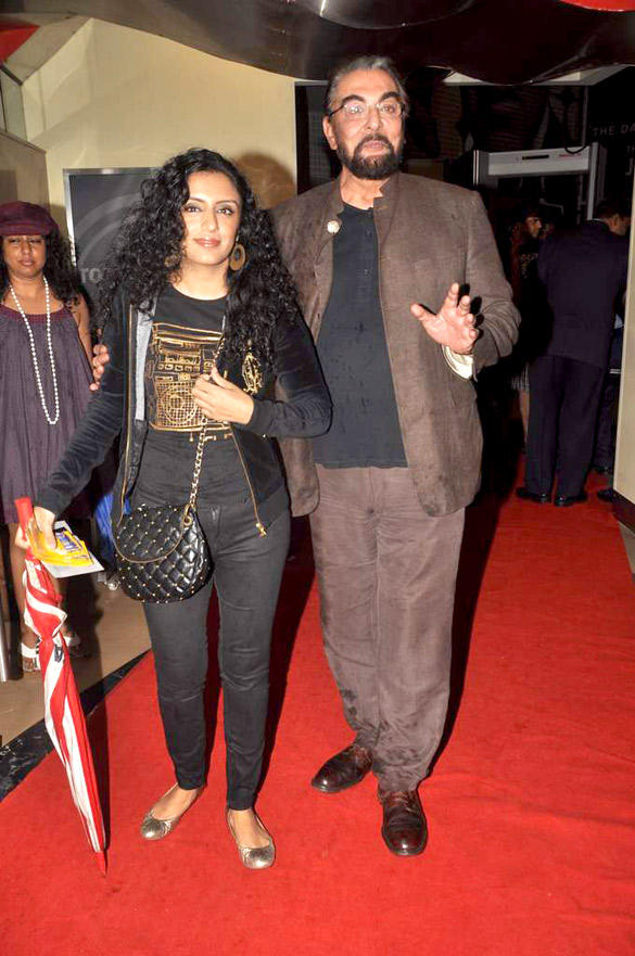 Kabir Bedi With Parveen Attend at The Dark Knight Rises Screening