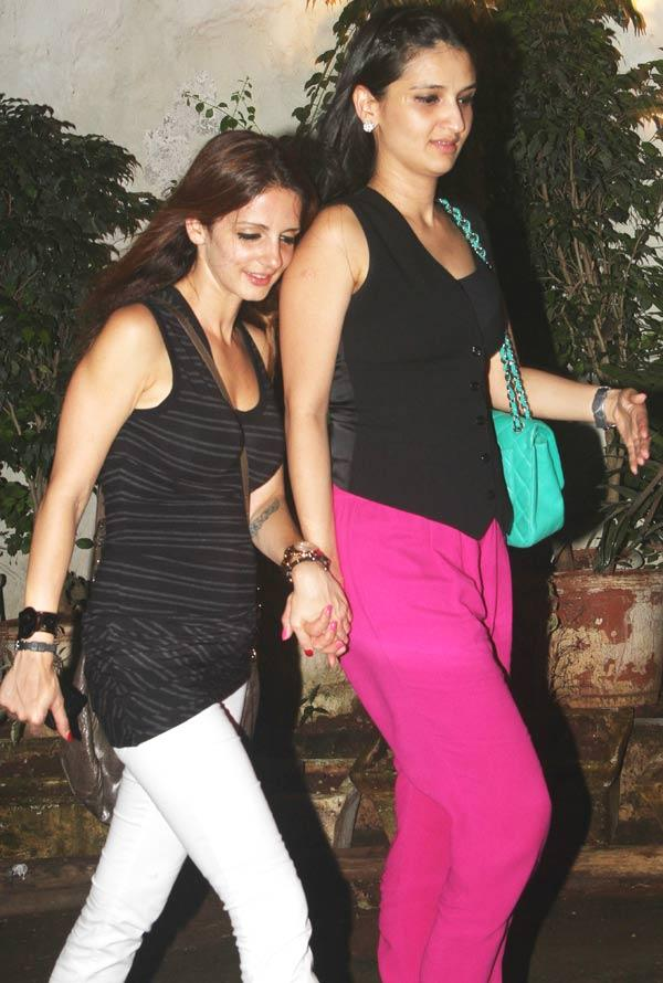 Suzanne Roshan With a Friend Spotted at Cocktail Movie Success Bash