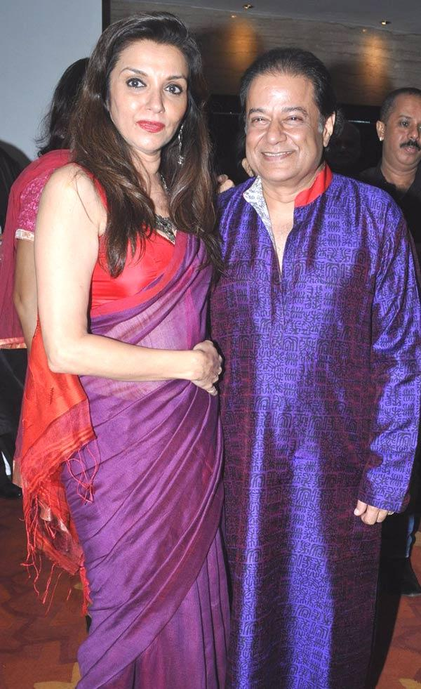 Lillete Dubey and Anup Jalota Pose During Anup Jalota's Birthday Bash