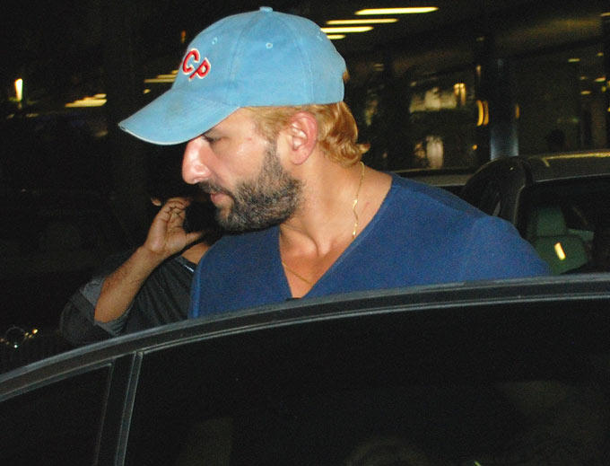 Saif  With Blonde Hair Spotted in Mumbai