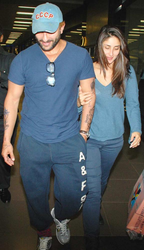 Supercouple Saif and Kareena Spotted At The Mumbai Airport