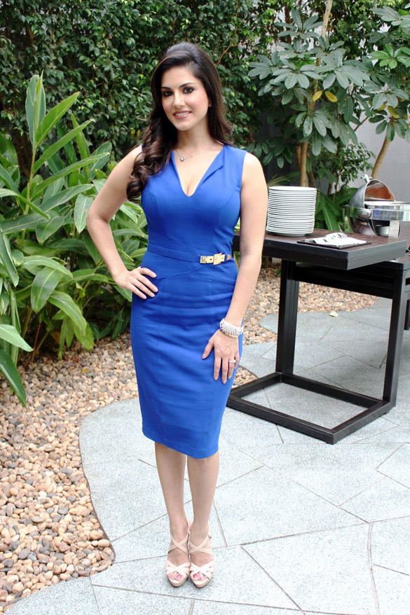 Sunny In Bleu Dress at JISM-2 Movie Promotional Event