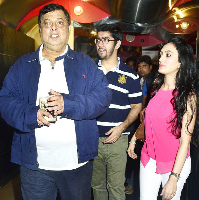 David Dhawan with son Rohit At Student Of The Year Movie Trailer Launch