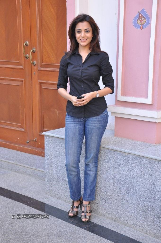 Nisha Agarwal Sweet Still in Black Shirt and Blue Jeans
