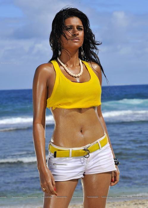 Shraddha Das Hot Body Show at Beach In Mini Dress