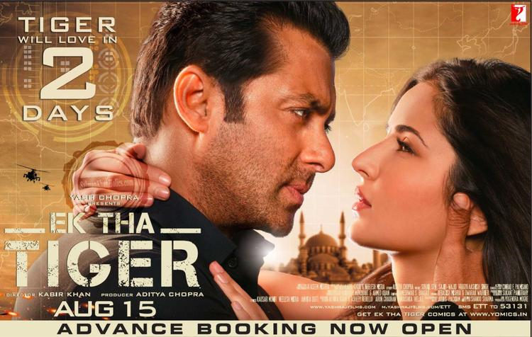 Salman and Katrina Hot Romantic Look In Ek Tha Tiger Poster