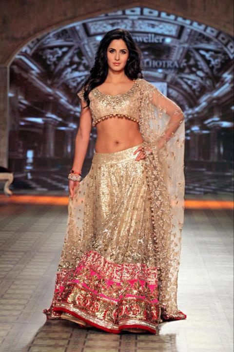 Katrina in a Manish Malhotra Bridal Wear at Lakme Fashion Week