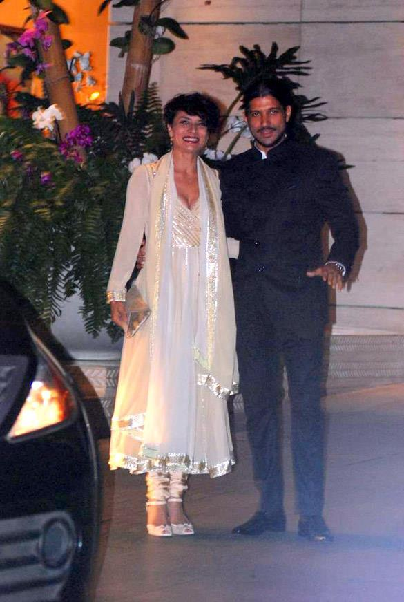 Farhan Akhtar at Mukesh and Nita Ambani Party With Wife