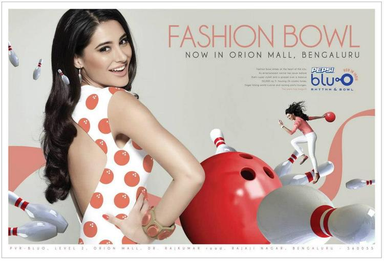 Nargis Fakhri Print Ad Photos For Pepsi Blu O Bowling