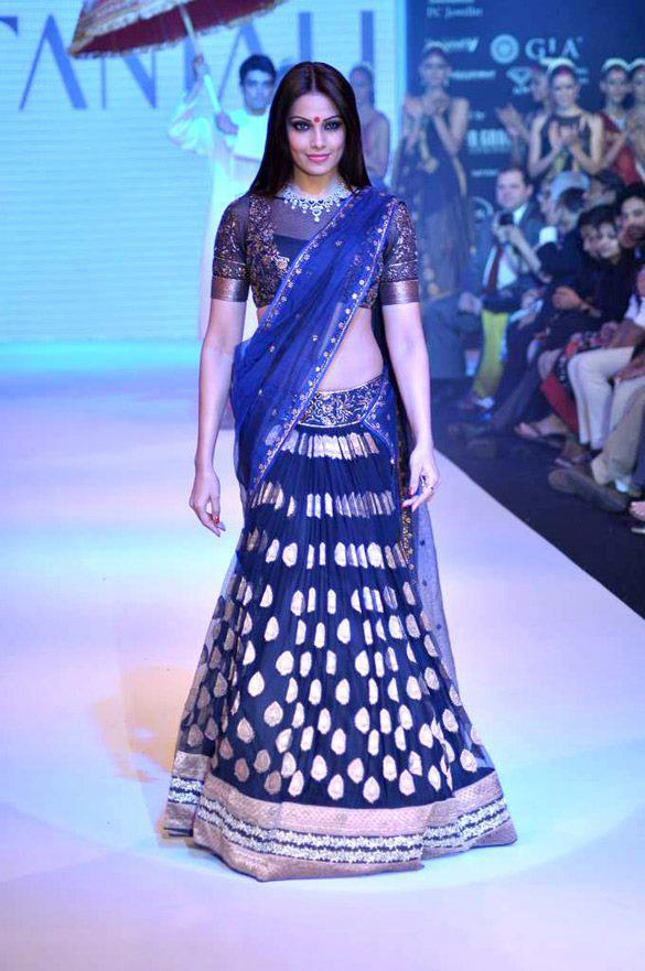 Bipasha in Designer Lehenga With Zari Woven Thread Work and Embroidered Work Paired at IIJW 2012