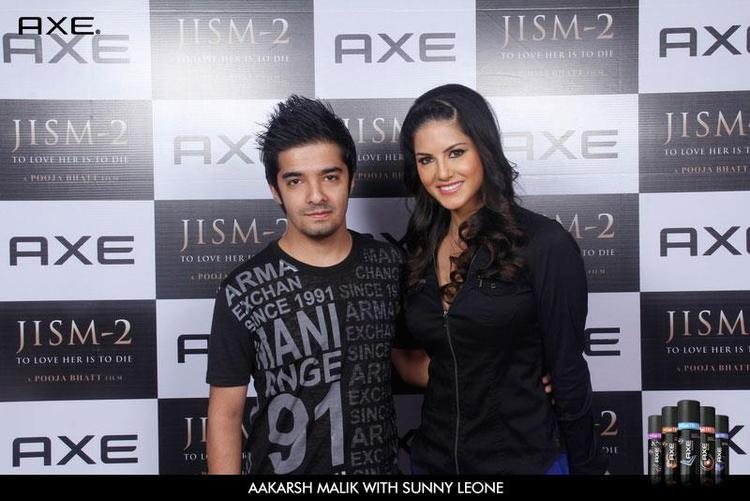 Aakarsh Malik With Sunny Leone at Axe