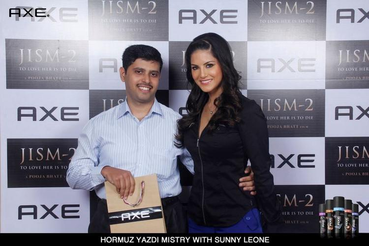 Hormuz Yazdi Mistry Pose With Sunny Leone at Axe Angle Club