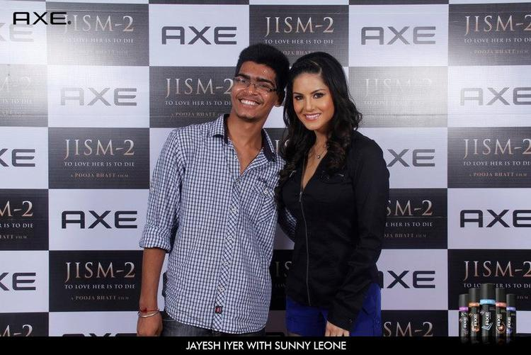 Jayesh Iyer With Sunny Leone at Axe Deo Launch