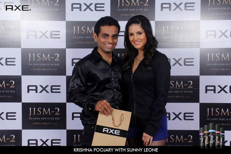 Krishna Poojary With Sunny Leone at Axe Deo Launch