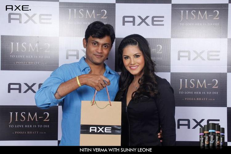 Nitin Verma and Sunny Leone Pose With Axe Deo