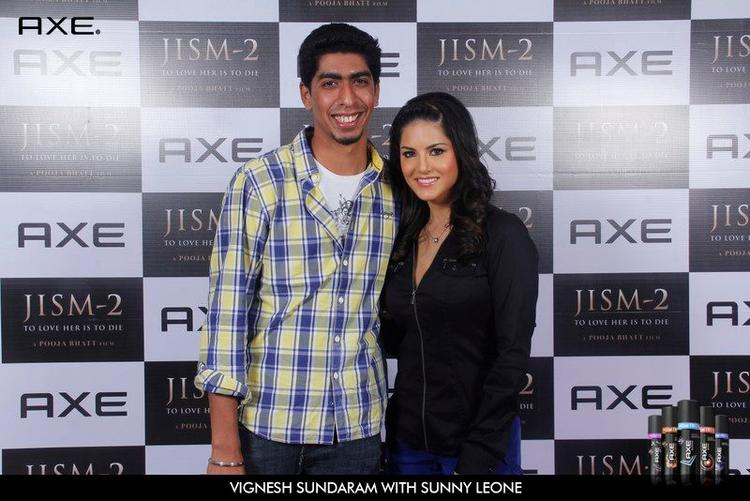 Vignesh Sundaram and Sunny Leone at Axe Angle Club