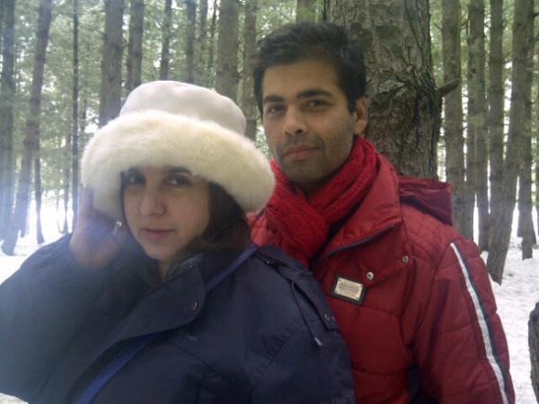Karan Johar with Farah On The Sets of Student Of The Year