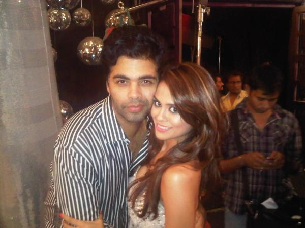 Karan Johar with Sana Saeed On The Sets of Student Of The Year
