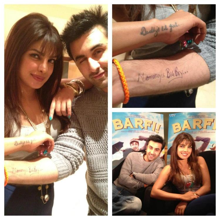 Priyanka Chopra and Ranbir Kapoor Exposing Tattoo