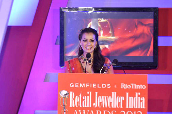 Dia Mirza Speak During The 8th Annual Gemfields and Rio Tinto Retail Jeweller India Awards 2012
