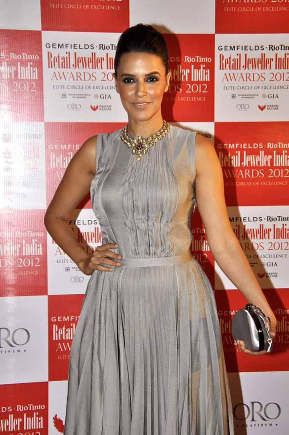 Neha Dhupia Spotted at  8th Annual Gemfields and Rio Tinto Retail Jeweller India Awards 2012