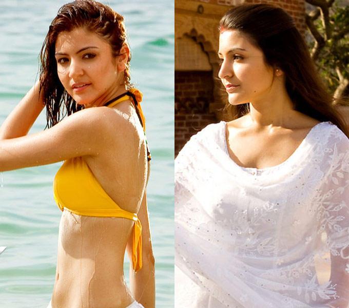Anushka Played The Role Of A Salwar Kameez Clad-Housewife In Her Debut Film Rab Ne Bana Di Jodi and Hot Bikini Pic In Badmaash Company
