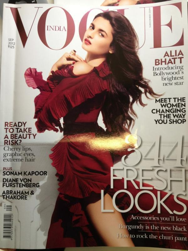 Alia Bhatt on the cover of Vogue (September 2012)