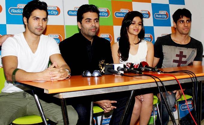 Varun,Karan,Siddharth and Alia at The Music Launch Of Student Of The Year at Radio City
