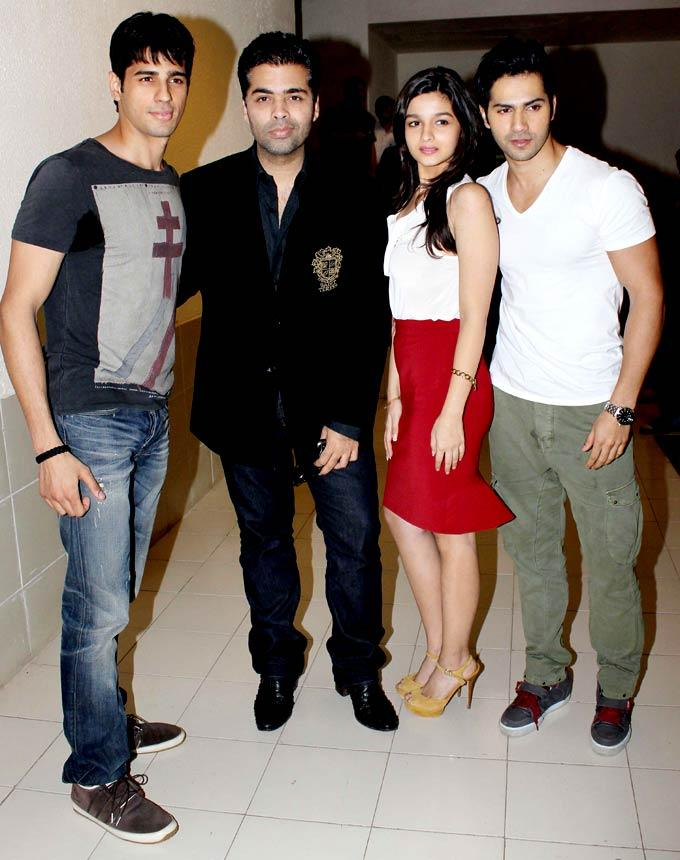 Varun,Karan,Siddharth and Alia Pose During The Music Launch Of Student Of The Year