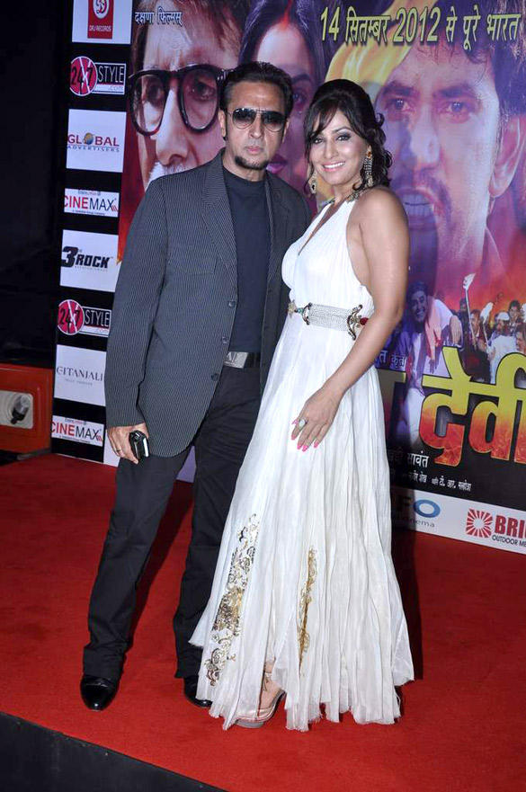 Gulshan Grover and Pakhi Hegde Pose During The Music Launch Of Ganga Devi