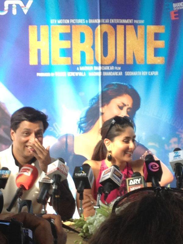 Kareena Kapoor and Madhur at Heroine Press Conference in Dubai
