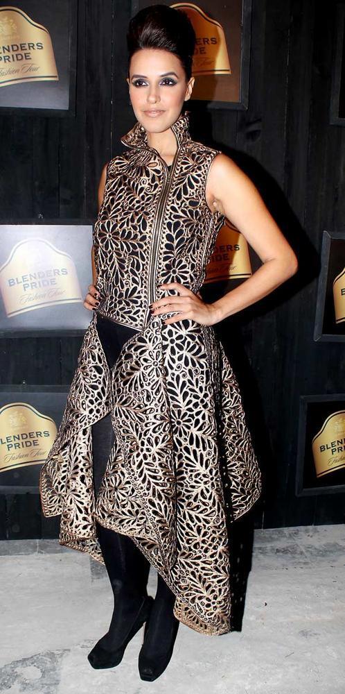 Neha Dhupia in Pankaj and Nidhi at Blenders Pride Fashion Preview Tour