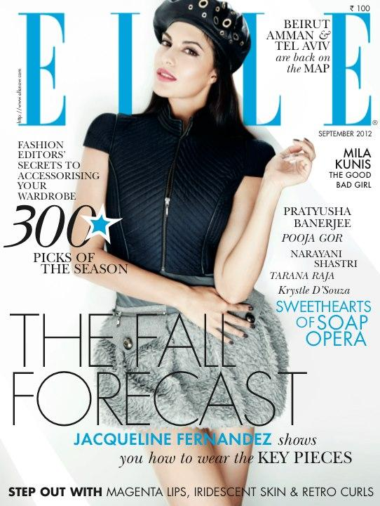 Jacqueline Fernandez On The Cover of Elle India September 2012