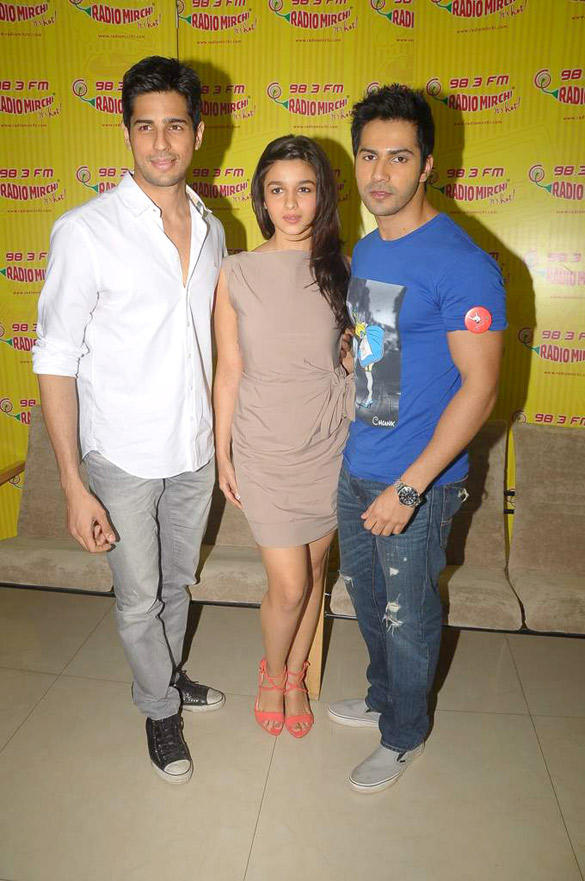 Alia,Siddharth and Varun at Radio Mirchi 98.3 FM For Student Of The Year Promotion