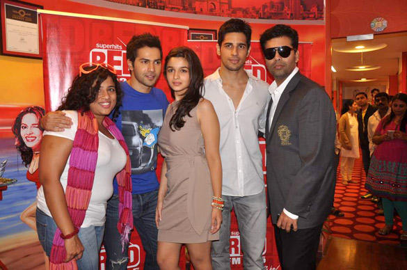 RJ Malishka with Karan Johar and The Cast of Student Of The Year at 93.5 Red FM
