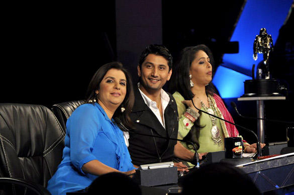 Farah,Marzi and Geeta During Dance Ke Superkids Show For Barfi Promotion