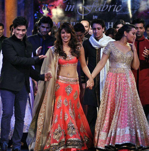 Sonakshi Sinha and Priyanka Chopra at Mijwan Hot Fashion Show 2012