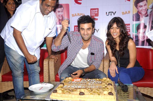 Ileana,Ranbir and Anurag Having A Fun at Cafe Coffee Day