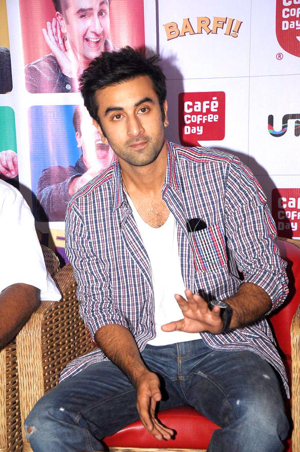 Ranbir Kapoor at Cafe Coffee Day To Promote Movie Barfi