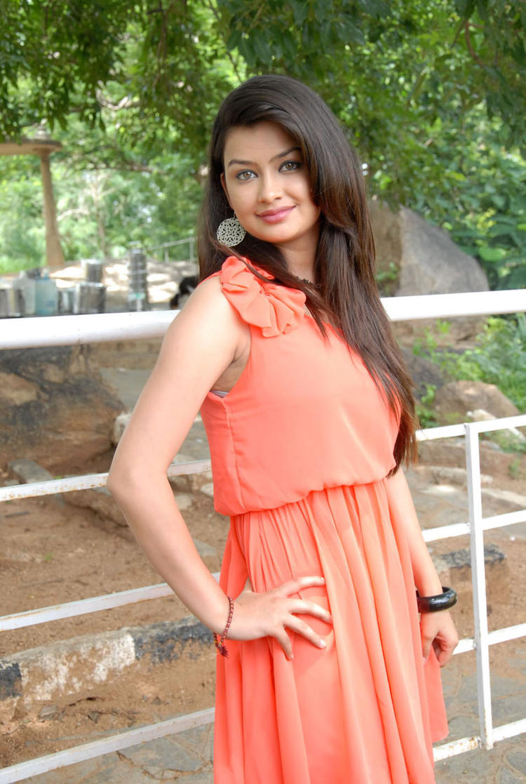 Chandini In Orange Dress at Devadas Style Marchadu Launch