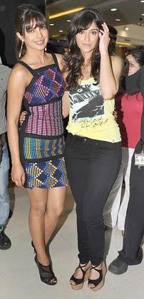 Priyanka and Ileana Pose For Barfi Promotion at R City Mall