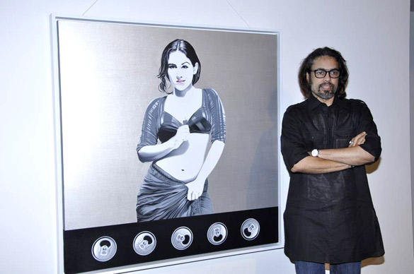 Viveek Sharma Painting of Vidya Balan's Dirty Pictures at his Art Exhibition Inauguration