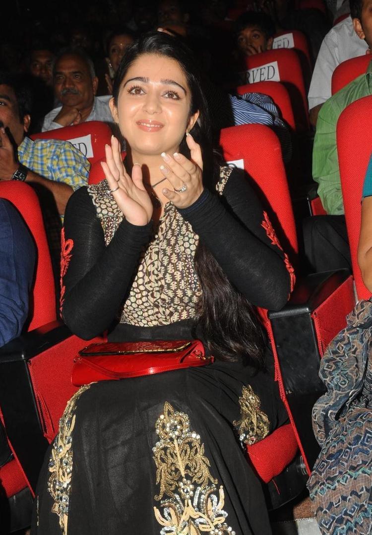 Charmi Kaur in Black Dress At Damarukam Movie Audio Launch