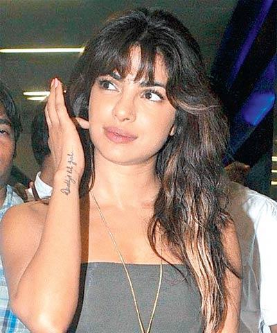 Priyanka Chopra Got A Tattoo With The Words Daddy's Little Girl
