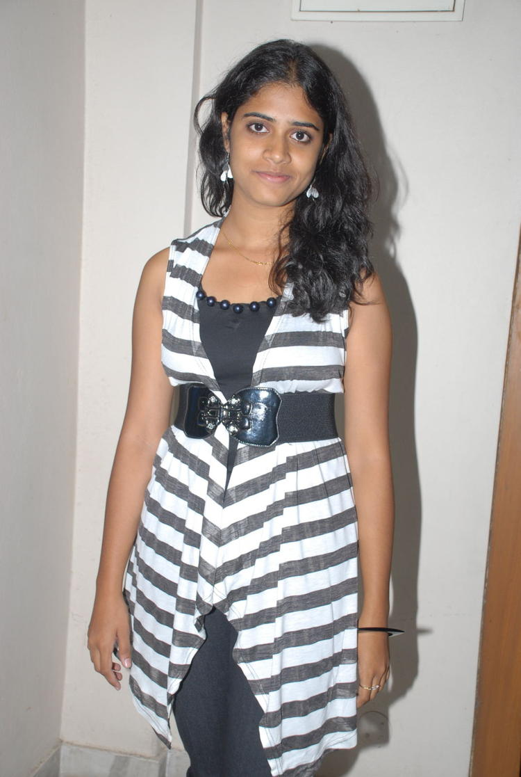 Samatha Nice Photoshoot In Black and White Striped Dress
