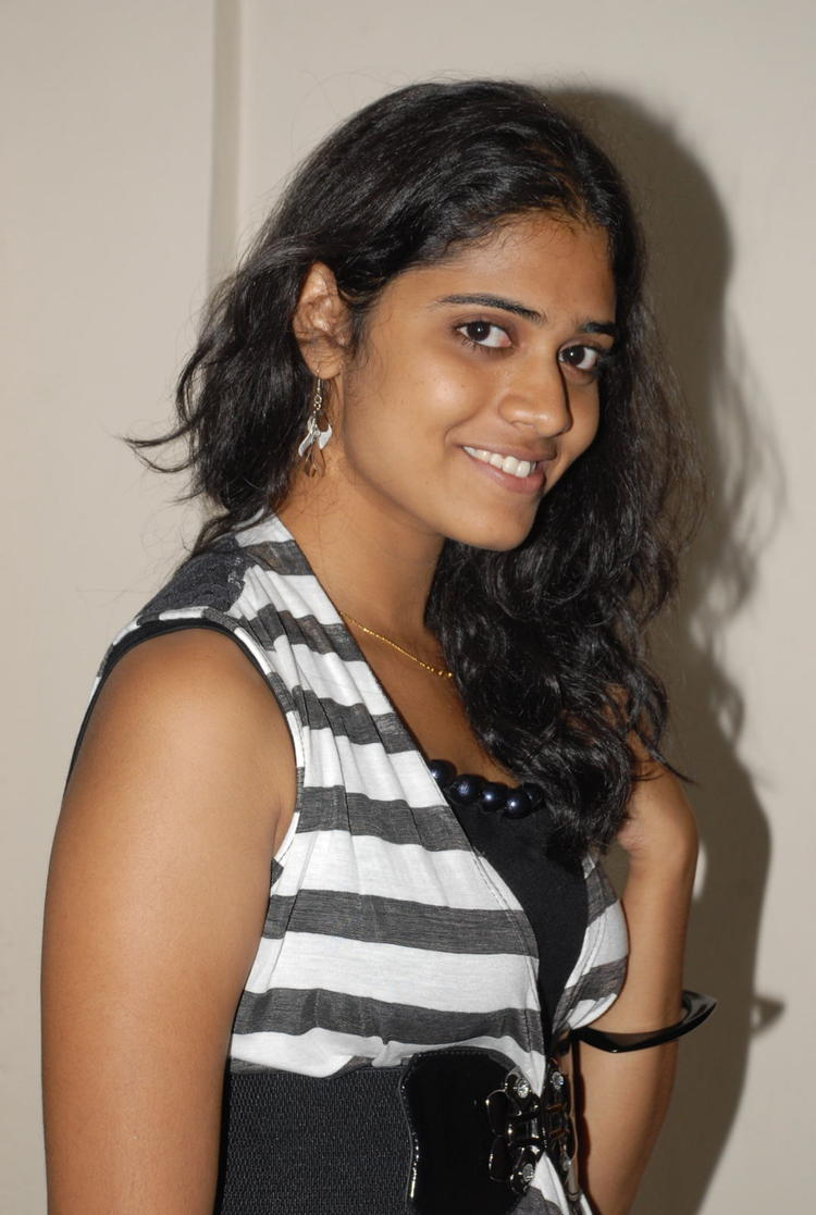 Samatha Smiling Pose Photoshoot In Black and White Striped Dress