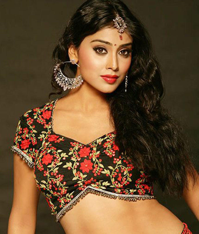 Shriya Saran Red Lips Gorgeous Photo Shoot