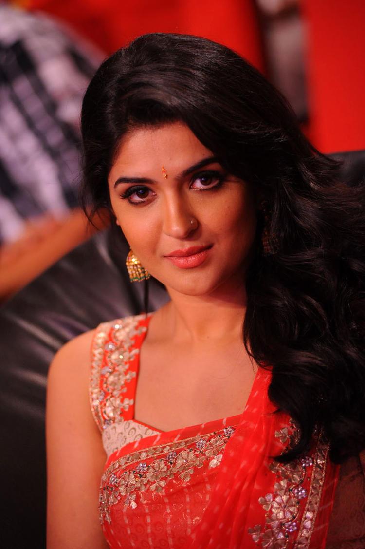 Deeksha Seth Looks Hot In Red Saree at Rebel Audio Launch Event