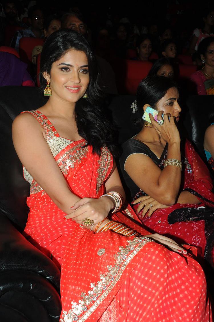 Deeksha Seth Red Saree Gorgeous Photo at Rebel Audio Launch Event